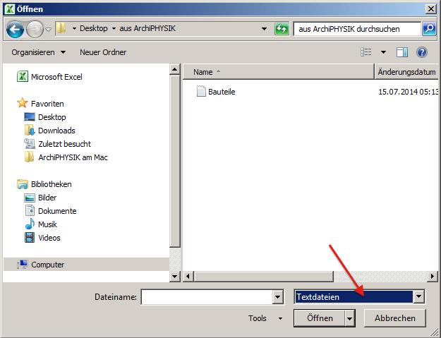 MS Excel Import Bauteile Datei
