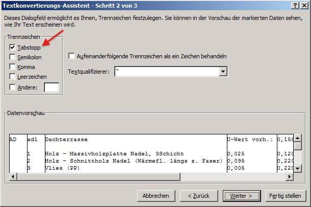 MS Excel Import Bauteile Dialog 2 von 3