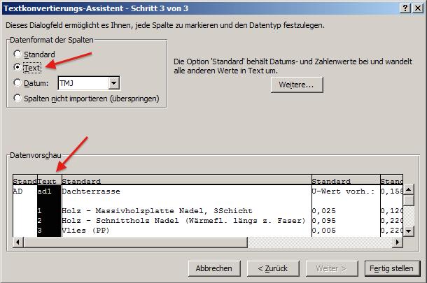 MS Excel Import Bauteile Dialog 3 von 3