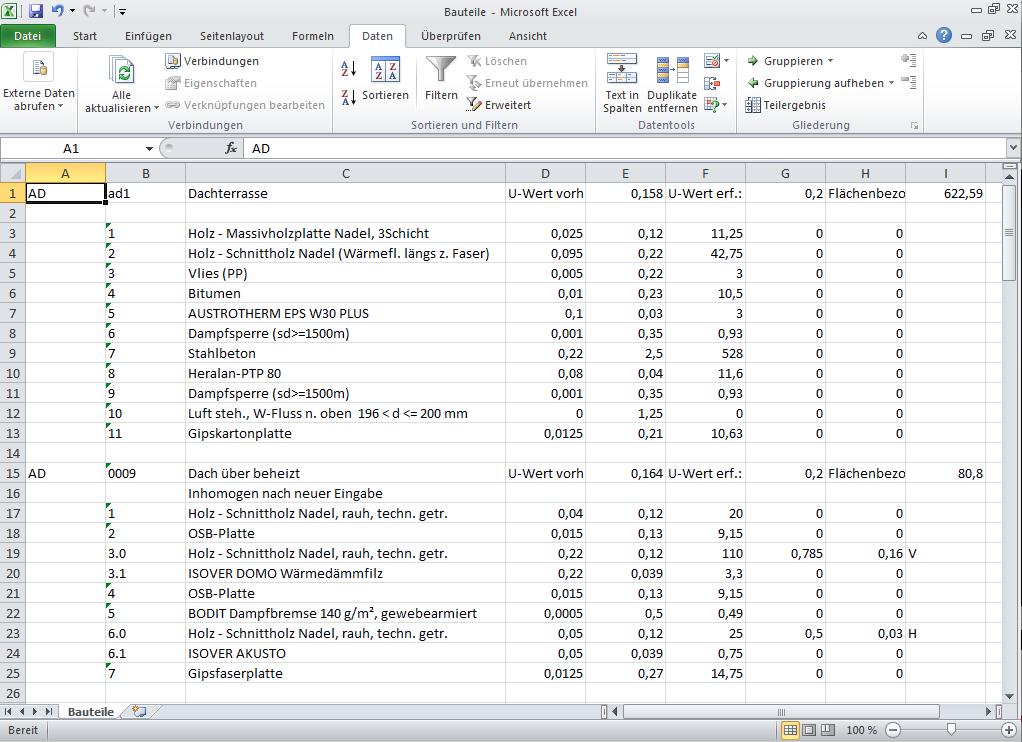 MS Excel Bauteile im Tabellenblatt