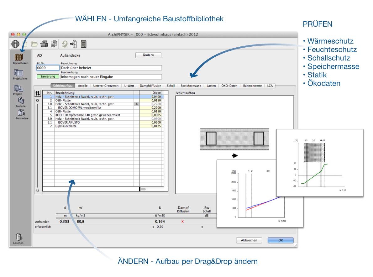 Bauphysik Bauteil Bearbeiten mit ArchiPHYSIK-elements