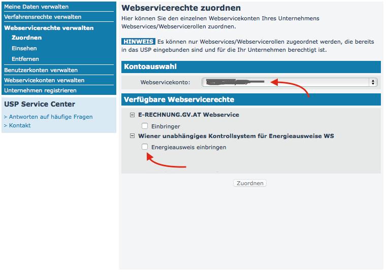 WUKSEA USP Webservicerechte zuordnen