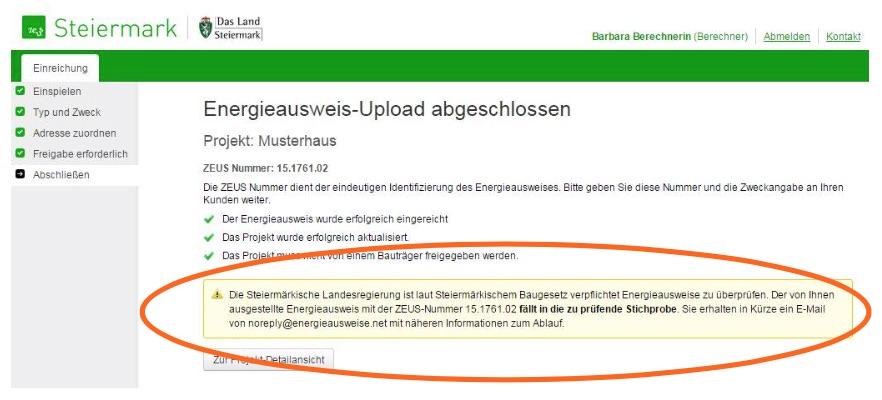 ZEUS Upload Stmk mit Ankündigung der Prüfung