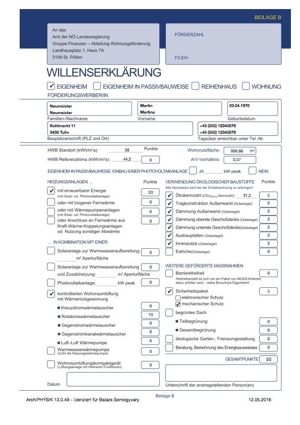 Niederösterreich Wohnbauförderung 2015 NeubauEinfamilienhaus Reihenhaus Wohnung Passivhaus Willenserklärung