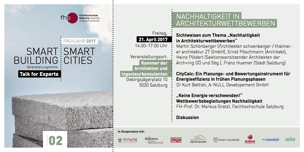 Smart Building  Talk4Experts Einladung Arch-Ing Kammer in Salzburg