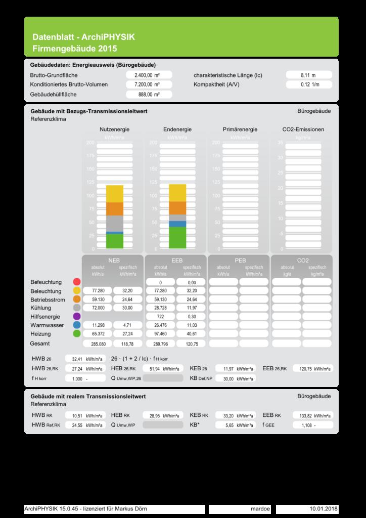 ArchiPHYSIK DatenblattNichtwohngebäude Energiebedarf 26 RK