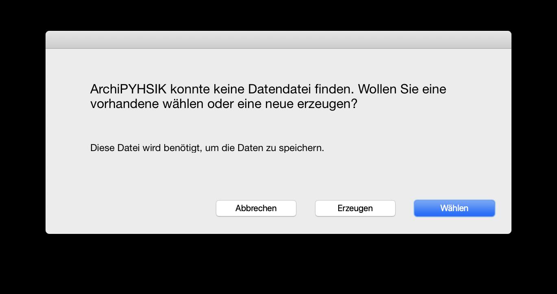 macOS Start - Datendatei Erzeugen