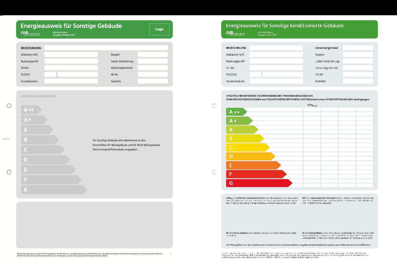 Energieausweis für Sonstige Gebäude Deckblatt Gegenüberstellung 2011 2019