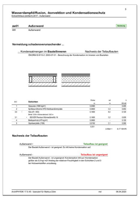 Nachweisformular Feuchteschutz Bauteil inhomogen Dampfdiffusion