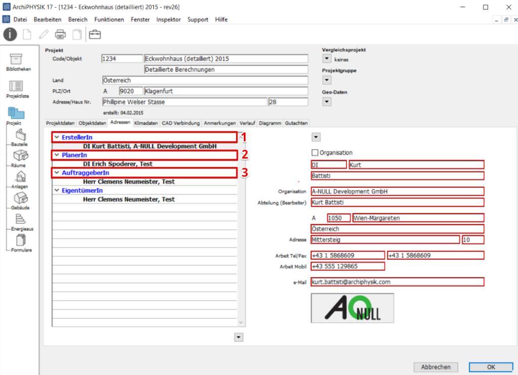 Adressen, ArchiPHYSIK, Adressdaten, Ersteller, Planer, Auftraggeber