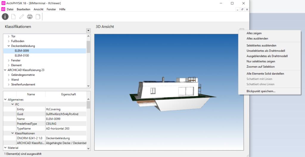 Anzeige Möglichkeiten im IFC Viewer, Aufbautenfinder im ArchiPHYSIK 18