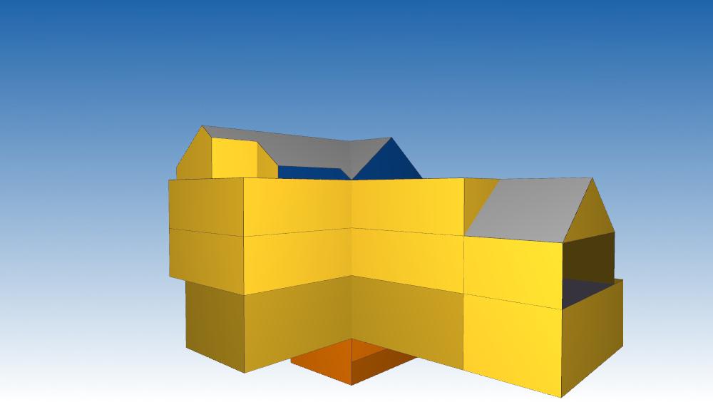 3D Darstellung der importierten Gebäudehülle