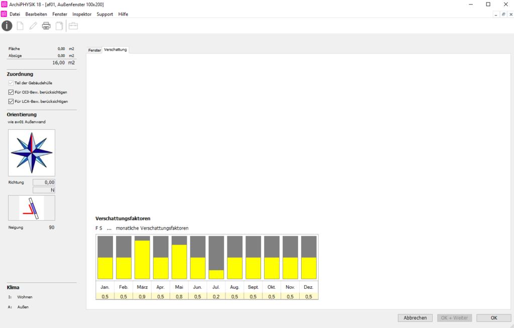 User Interface ArchiPHYSIK. Verschattung monatlich