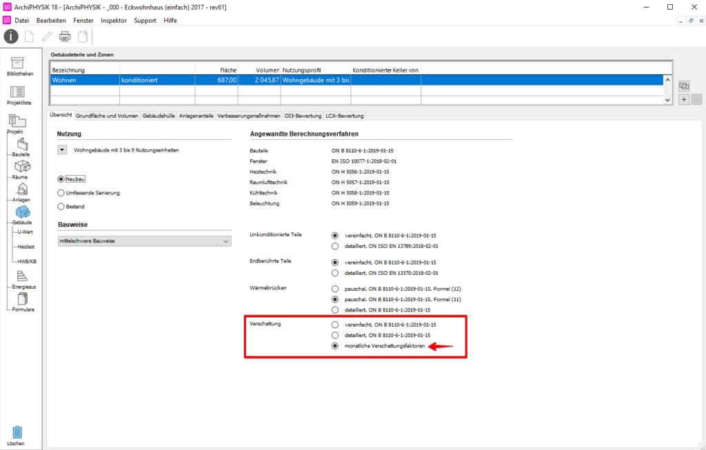 User Interface ArchiPHYSIK. Option für Aktivierung der monatlichen Veerschattung