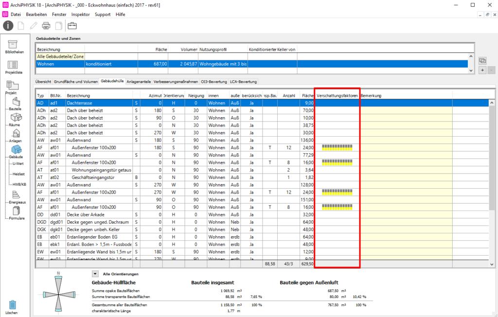 User Interface ArchiPHYSIK. Übersicht der monatlichen Verschattungsfaktoren einer Zone